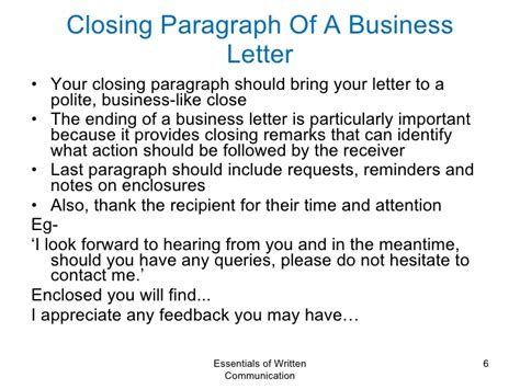 Closing Letter Remarks Business Communication