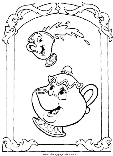 beauty and the beast teapot coloring pages mrs potts and chip beauty and the beast color page