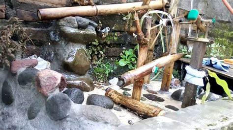 Jual Kolam Terpal Mini gambar kincir air bambu hiasan taman kolam ikan