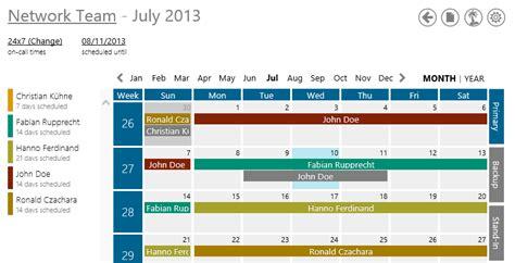 On Call Calendar Rotation Template   Calendar Template 2016