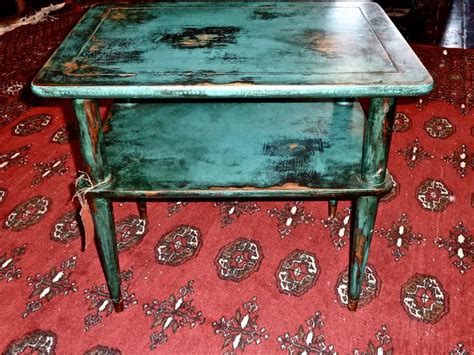 Vintage Distressed Two Level Coffee Table Turquoise Teal Distressed Turquoise Coffee Table