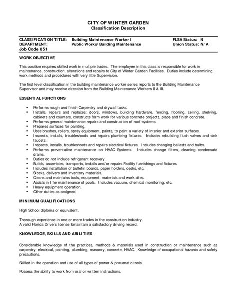 Sle Resume For Maintenance Worker In A Building Maintenance Engineer Resume Format Pdf 28 Images Building Maintenance Engineer Resume Sle