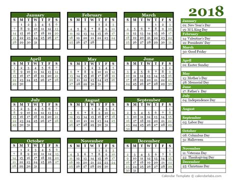 printable calendar 2018 year to view editable 2018 yearly calendar landscape free printable