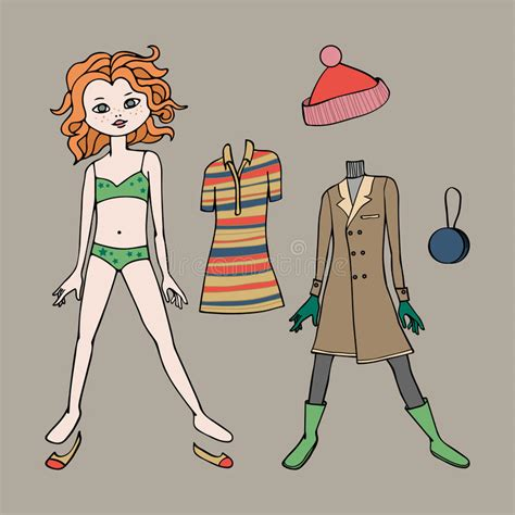 Cute Dress Up Paper Doll Body Template Clothing And Accessories Vector Illustration Stock Fashion Paper Doll Template