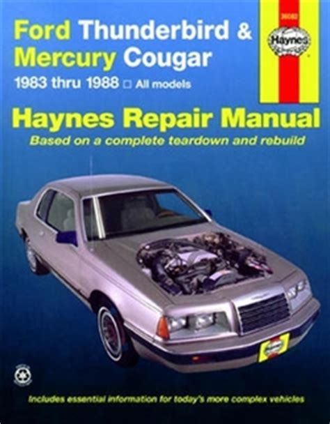 small engine service manuals 1988 ford thunderbird head up display haynes repair manual for ford thunderbird and mercury cougar 1983 thru 1988