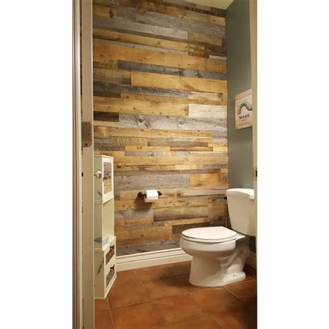 Wall Covering Bathroom by Diy Reclaimed Wood Accent Wall Grey And Natural Brown