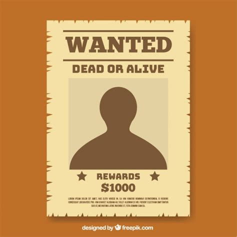 wanted poster template in flat design vector free download