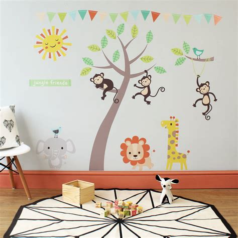 animal wall stickers pastel jungle animal wall stickers by parkins interiors