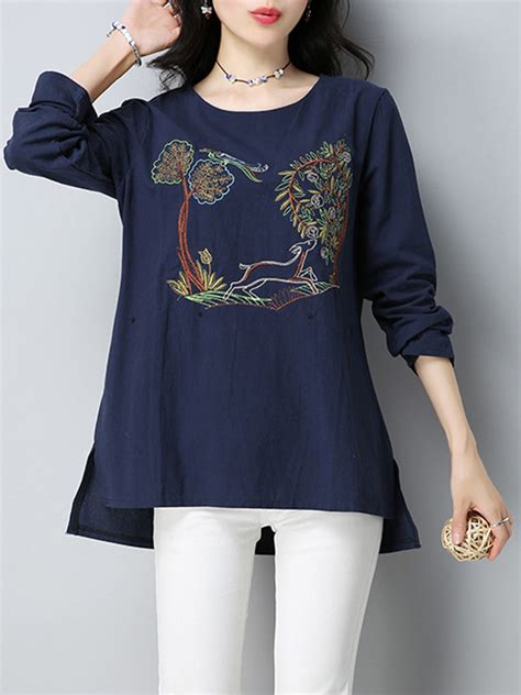 Sleeve Embroidered T Shirt vintage sleeve pattern embroidered t shirt