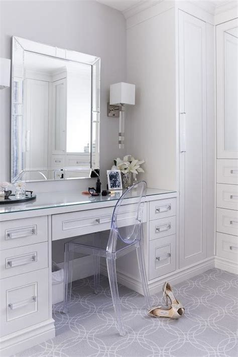dressing room vanity white and gray dressing room with ghost chair transitional closet