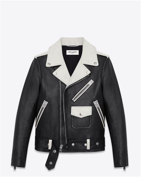 saint laurent classic motorcycle jacket  black  white
