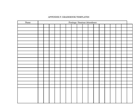 printable grade book template for teachers 8 best images of blank attendance chart printable free
