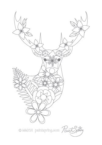 deer coloring page for adults printable animal adult coloring book get 3 free pages