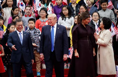 donald trump asia tour trump in korea live us president demands china and russia