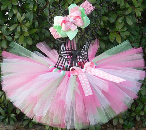 Rok Tutu Katun Salur Pink sale baby tutu pink green tutu 1st birthday tutu