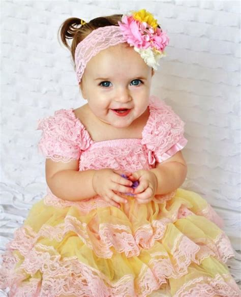 Gamis 33866 Medyana Pink Syari pink yellow lace baby dress headband set toddler dress