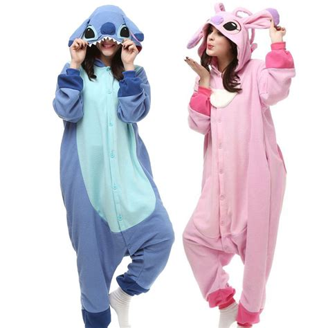 Jam Flanel Stitch Pink pink blue animal stitch pajamas onesie for adults hooded fleece pijamas mujer sell best