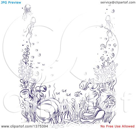 Clipart Of A Sketched Reef by Clipart Of A Sketched Reef Border Royalty Free Vector