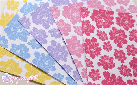 Free Origami Paper - Peony Pattern - Paper Kawaii A-paper