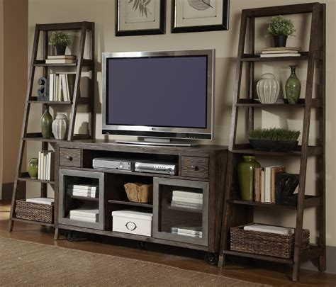 Rustic Ladder Bookcase Industrial Entertainment Center Wood Television Stand T V