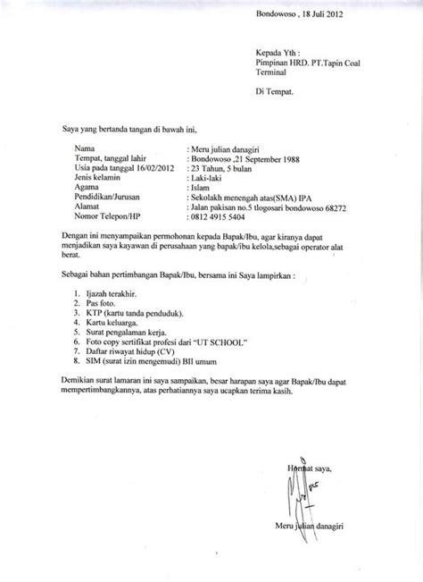 contoh application letter kerja contoh application letter fresh