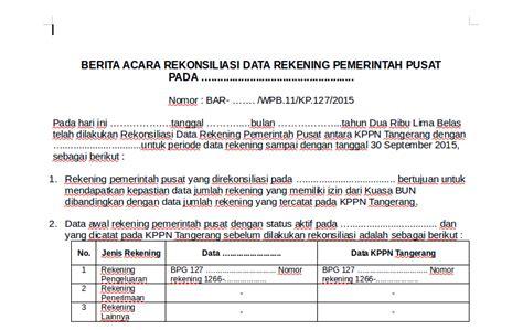 contoh berita acara rekonsiliasi data rekening pemerintah