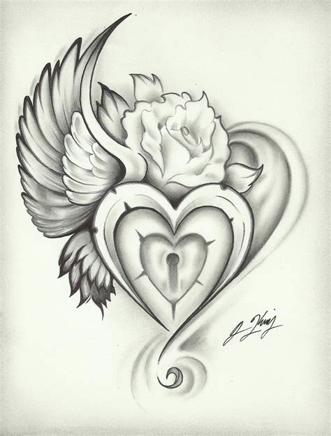 heart and rose tattoo design gudu ngiseng sketch