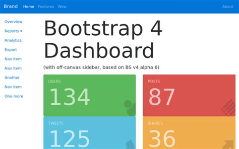 admin starter dashboard theme tree bootstrap template new in bootstrap 4 theme at bootstrapzero