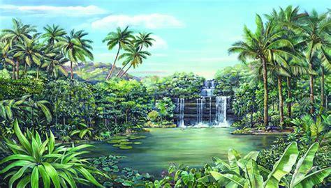 Tropical Beach Wall Murals tropical lagoon chair rail mural ra0173m