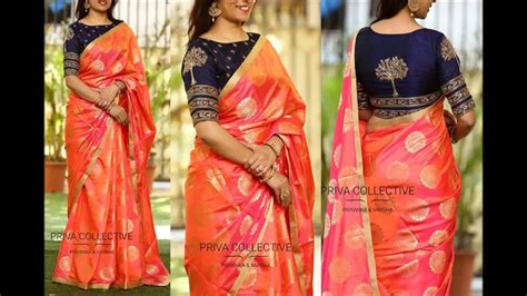 buy orange and blue combination chanderi silk saree with cotton silk border apparel for women contrast combination blouse saree mix and match designer