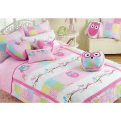 Toddler Duvet Sets Uk Girls Twin Pink Owl Quilt Set Kids Patchwork Bedding With