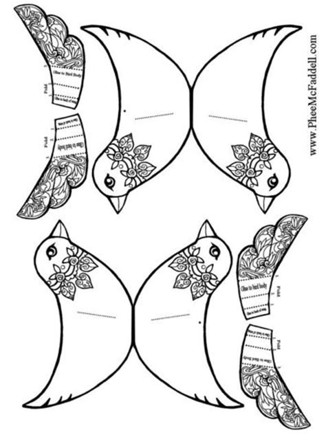 owl wings coloring page paper bird ornament by phee mcfaddell papercraft juxtapost