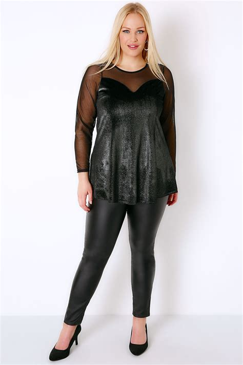 Safira Top Cf 10 black glitter velour peplum top with mesh sweetheart neckline plus size 16 to 36