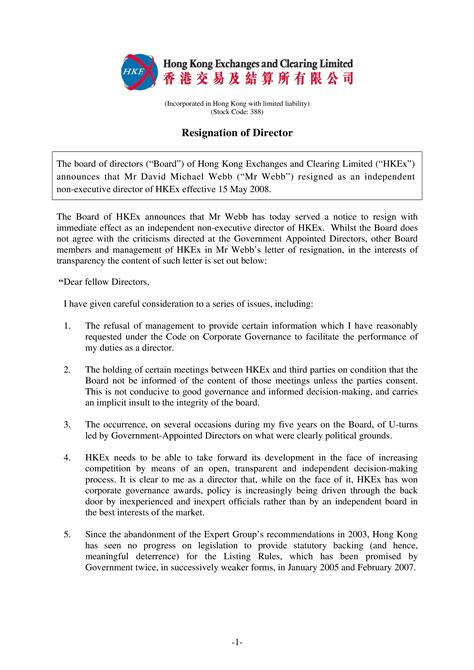 hong kong board directors resignation letter sample