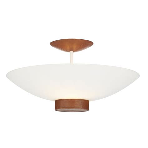 Ceiling Light Tanned Leather Detail Saddler Uplighter For Low Ceiling Lighting