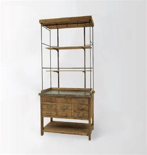 Metal Hutch wood metal display hutch rustic china cabinets and hutches new york by zin home