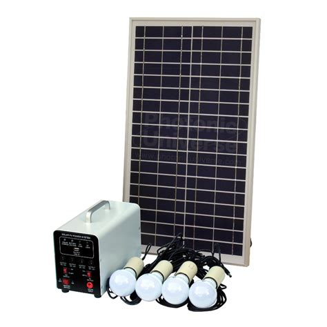 Battery Solar Lights 25w Grid Solar Lighting System With 4 Led Lights