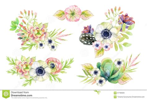 style flower watercolor flower arrangement in vintage style with