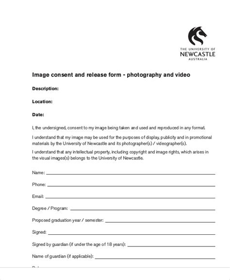 copyright release template photography consent form personal release uw brand