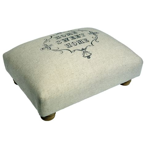Foot Stool by Dotcomgiftshop Home Sweet Home Padded Foot Stool Wood Cotton Ebay