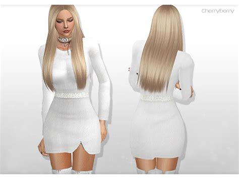 St Cherry Dress Cc cherryberry custom content white dress with floral belt