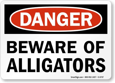 beware of signs beware of alligators osha danger sign sku s 5737 mysafetysign