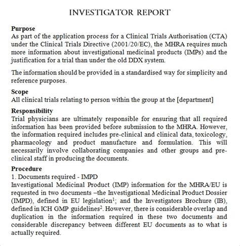 investigator brochure template 8 investigator brochures sle templates