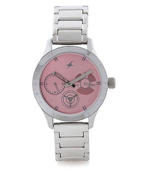 fastrack upgrades pink silver analogue wrist for