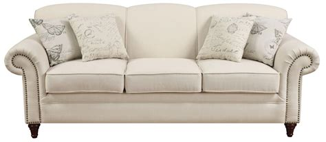 norah antique inspired sofa with nail head trim sofas