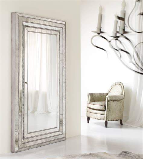 Mirrored Jewellery Armoire by Furniture Sqaure Silver Wooden Mirrored Jewelry Armoire
