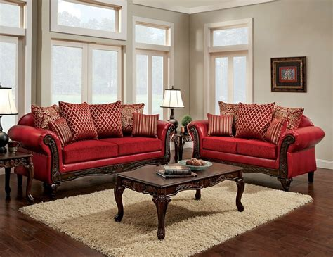 traditional fabric sofas marcus traditional style red leatherette fabric sofa set