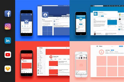 25 Free Social Media Mockups Templates Nastya Esina Medium Social Media Branding Templates