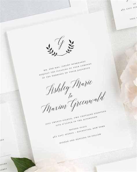 Wreath Monogram Wedding Invitations   Wedding Invitations