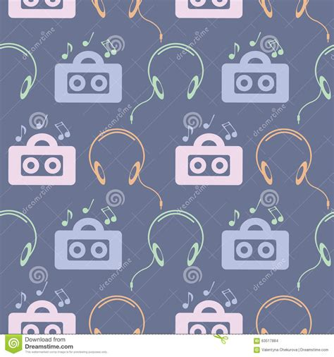 video player pattern seamless music vector pattern symmetrical background with